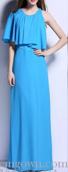 BCBG Asymmetrical Neckline Blue Evening Dress