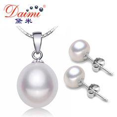 Daimi pearl jewelry sets 925 argento ciondolo collana di perle d'acqua dolce orecchini delle viti prigioniere intero insieme gioielleria bianco perla set