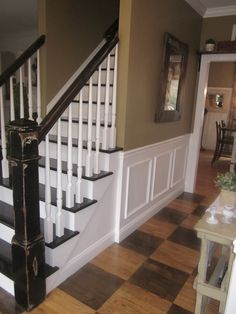 i like the aged railing, checkered floor....Down to Earth Style: Paint Colors