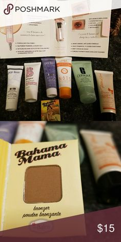 Lot of travel size face & one hand sample product Most of them are Unused travel size sample products.. There are under eye illumination, mud mask, acne pore deep cleanser, spa sensual hand cream, clinique 7 day scrub cream and Bahama mama bronzer. Other Makeup