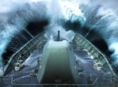 HMAS Arunta goes bow first into heavy seas