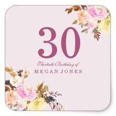#Cute Pretty Pink Peach Flower 30th Birthday Party Square Sticker - #giftidea #gift #present #idea #number #thirty #thirtieth #bday #birthday #30thbirthday #party #anniversary #30th