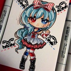 Chibi of my new OC - who will be my instagram mascot character =D so her name will be Ari. I only have one more exam to go then I can finally relax!~ #paigeeworld #oc #copic #sailor #lolita #copicart #copicmarkers #traditionalart #manga #anime #animegirl #kawaii #chibi