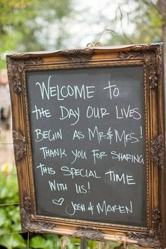 A cute chalkboard sign. {Photography by Verdi}
