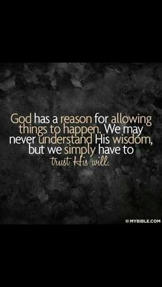 """remember God told Jesus """"no"""" and saved the world. I know that our """"no"""" is for a HUGE reason. We will continue to trust"""