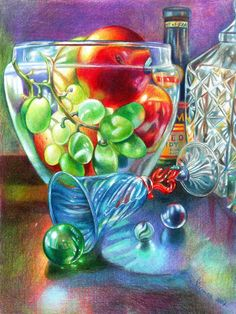 Veronica Winters - Fruit and Glass 2 (Colored Pencil)