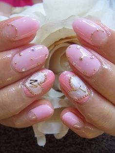 Pink and white with gold and white beads and you are ready to go... via 65 Japanese Nail Art Designs - cuded.com