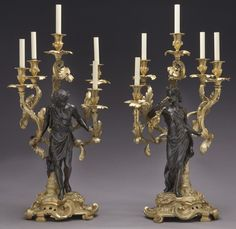 Large gilt bronze and patinated 5-light candelabra : Lot 307