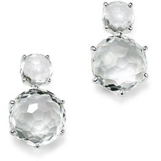 Ippolita Rock Candy 2 Stone Earrings in Clear Quartz (30,290 PHP) ❤ liked on Polyvore featuring jewelry, earrings, ippolita jewelry, drop earrings, clear quartz earrings, clear quartz jewelry and stone jewellery