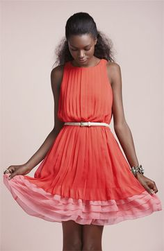 pretty pretty pretty! Coral and pink chiffon dress