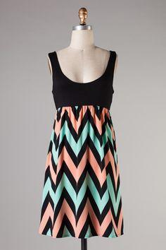 sherbet chevron dress  #swoonboutique