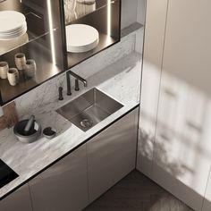 Kitchen & dining area #modernkitchen #kitchendesign #kitcheninterior #diningareadesign #diningareinterior #minimalism #architecture #minimalisticarchitecture #minimalisticinterior #ideasforkitchen Double Vanity, Modern, Sink, Kitchen Appliances, Interior, Design, Home Decor, Rooms, Color