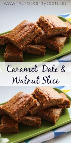 Quick, tasty and delicious. This Caramel, date and walnut slice will leave you wanting more! Gourmet Recipes, Sweet Recipes, Cake Recipes, Cooking Recipes, Date Slice, Biscuit Recipe, Dessert Bars, Dessert Ideas, Oatmeal Cookies