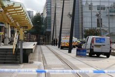 Police officers stand on duty at a cordon outside the Arndale Centre shopping complex in Manchester, northwest England on October 11, 2019, following a series of stabbings. - Police arrested a man on terror charges Friday after a mass stabbing at a shopping centre in Manchester, northwest England, that left five people injured. The man in his 40s was 'lunging and attacking people' with a large knife in the Arndale shopping centre, Police Chief Russ Jackson said. (Photo by Lindsey Parnaby…