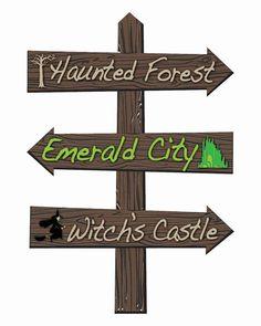 "wizard of oz props | Wizard of Oz Cross Roads 24"" x 36"" Lawn Stake Halloween Prop ..."