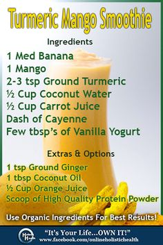 Turmeric Mango Smoothie! Helps get rid of inflammation & reduces pain as effectively as NSAIDS!  And did I mention it tastes AWESOME!!  Perfect for after your workouts! Try it and let me know what you think!
