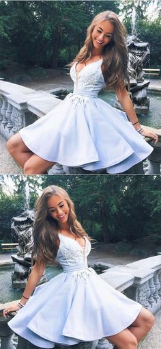cute a-line v neck satin homecoming dresses lace appliques prom short dresses 2018 #homecomingdresses