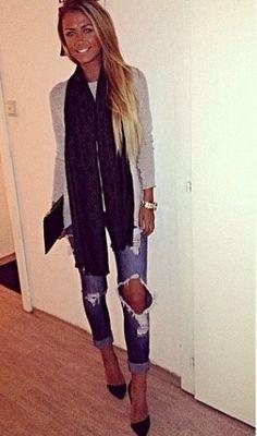 crop jeans, scarf