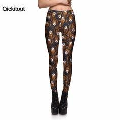 Qickitout Leggings New Women's Forest Animal Yellow Lion Head Wild Leggings Digital Print Pants Trousers Stretch Pants Plus Size