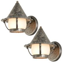 Pair of Petite Faux Hammered Porch Lanterns C1945