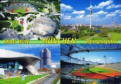 München – Olympiapark – BMW Welt. Olympiapark. Olympiasee mit Olympiapark und Fernsehturm (290 m). BMW Welt. Olympiastadion.