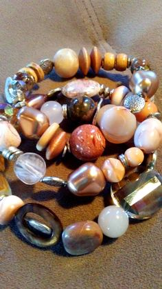 One of a Kind set of Three rose and cream stretch bracelets #759 by LoisWagnerOriginals on Etsy