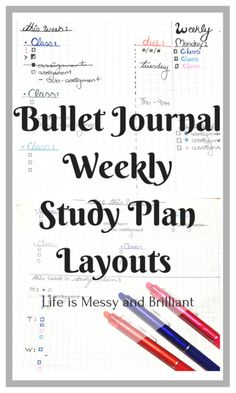 Bullet Journal | Weekly School To Do and Study Plan Layouts