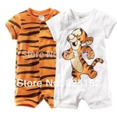 Barato Recém nascido bebê verão de manga curta Romper tigre dos desenhos…