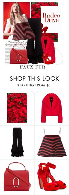 """""""Wow factor : Faux Fur"""" by groove-muffin ❤ liked on Polyvore featuring Vanity Fair, Yves Saint Laurent, Alexis, Rosie Assoulin, 3.1 Phillip Lim and Alexander McQueen"""