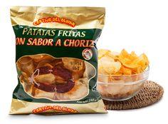 Cierra los ojos y abre nuestras patatas sabor chorizo… su olor es irresistible! Ahora pruébalas… tan crujientes y con ese sabor tan logrado, que no podrás dejar de comer.  Pruébalas, te harás adicto a ellas!!