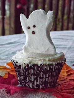 Living the Gourmet: Chocolate Halloween Cupcakes featuring Peeps Marshmallows