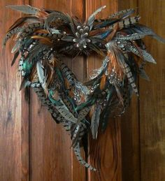 Feather Heart Wreath: Rooster and Pheasant Feather Wreath, Feather Crafts, Feather Art, Feather Jewelry, Turkey Feathers, Pheasant Feathers, Valentine Wreath, Valentine Box, Valentine Ideas