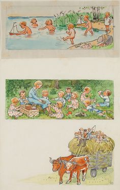 Nordic Thoughts Elsa Beskow's illustration from Lisa's Future Plans from ''Vill du läsa? Elsa Beskow, Antique Illustration, Children's Book Illustration, Vintage Book Art, Book Images, Beautiful Paintings, Childrens Books, Illustrators, Sketches