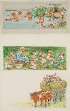 Nordic Thoughts Elsa Beskow's illustration from Lisa's Future Plans from ''Vill du läsa? Elsa Beskow, Antique Illustration, Children's Book Illustration, Vintage Book Art, Book Images, Childrens Books, Illustrators, Log Lady, Rammer