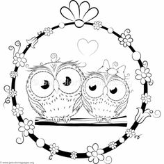 Cute Cartoon Owl Couple Coloring Pages Owl Coloring Pages, Coloring Sheets For Kids, Adult Coloring, Free Coloring, Owl Cartoon, Cute Cartoon, Cartoon Owl Drawing, Lisa Frank Coloring Books, Digital Stamps Free