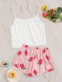 To find out about the Strawberry Print Striped Cami PJ Set at SHEIN, part of our latest Pajama Sets ready to shop online today! Cute Pajama Sets, Cute Pjs, Cute Pajamas, Pajamas Women, Pj Sets, Older Women Fashion, Tween Fashion, Teen Fashion Outfits, Rock Outfits