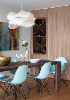 Great scale and woodgrain pattern in this floor to ceiling, built in dining room storage