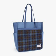 Sweetch tote brief navy x Harris tweed