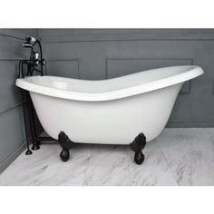 Barclay Products 5.6 ft. Acrylic Ball and Claw Feet Slipper Tub in White with Oil Rubbed Bronze Accessories-TKADTS67-WORB4 - The Home Depot Farmhouse Bathroom Accessories, Acrylic Tub, Cast Iron Bathtub, Whirlpool Bathtub, Tub Faucet, Dream Bathrooms, Clawfoot Bathtub, Shower Tub, Master Bathroom