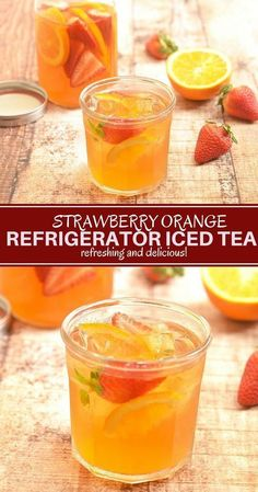 Strawberry Orange Refrigerator Iced Tea - Beverage Refrigerator - Ideas of Beverage Refrigerator #BeverageRefrigerator -  Strawberry Orange Refrigerator Iced Tea thats mellow in flavor refreshing and naturally sweetened with fresh fruits. Its a delicious way to hydrate all year round! #beverage #refreshment #coldbrewtea