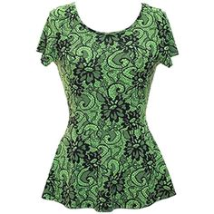 Green & Black Peplum Lace Print Flared Waist Short Sleeve Blouse Top ($24) ❤ liked on Polyvore featuring tops, blouses, green, short sleeve blouse, peplum blouse, green top, short sleeve peplum top and flare tops