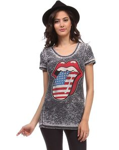 Sexy Burn Out Flag Rolling Stones Tongue American Rocker Tee USA T-Shirt Top New #Urbanx #GraphicTee
