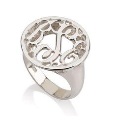 Silver Monogram Ring.