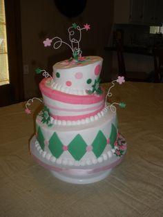 Pink & green springy wedding shower cake