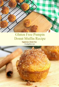 Gluten Free Pumpin Donut Muffin Recipe >> for complete recipe please click Low Carb Desserts, Gluten Free Desserts, Dairy Free Recipes, Vegan Recipes, Cooking Recipes, Donut Recipes, Muffin Recipes, Goat Cheese Pasta, Donut Muffins