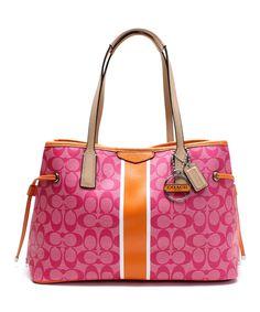 Pink & Orange Signature Stripe Satchel | zulily