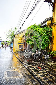 View of the street in Hoi An old town, Vietnam.
