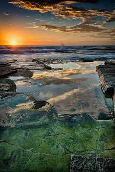 Clear sunrise over Turimetta beach, Sydney Australia.