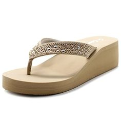 Cammie Women Wedge Thong Sandal With Octagon Stud Straps ... Wore these sandals about 6 times, and strap broke loose last night.  Obviously made very cheaply!!  Don't buy these sandals.  They are junk!!
