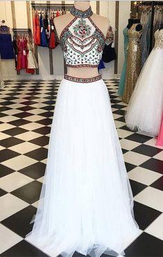 2017 prom dress, two piece prom dress, white prom dress, long prom dresses